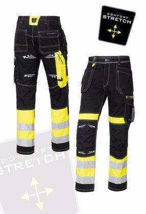 Arbetsbyxor med stretch svart gul