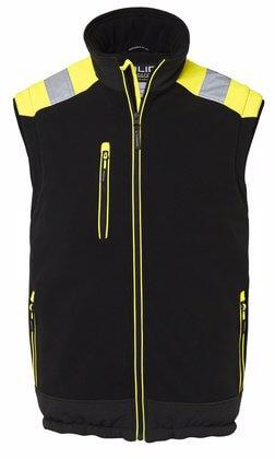 Fodrad väst med reflex svart och gul