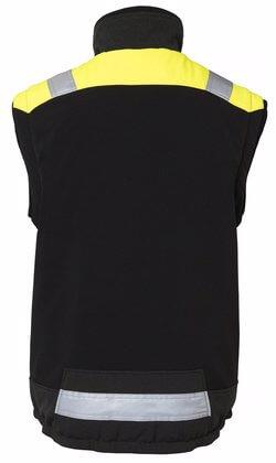 Fodrad väst med reflex svart och gul rygg