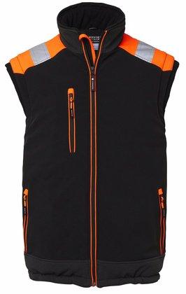 Fodrad väst med reflex svart och orange