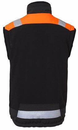 Fodrad väst med reflex svart och orange rygg