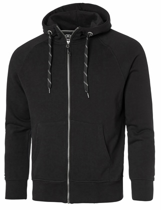 Hooded Raglan Sweatshirt Full-Zip Svart