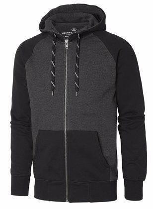 Sweatshirt hood med dragkedja svart och grå