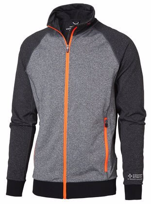 Sweatshirt med dragkedja grå orange