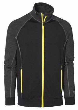 Sweatshirt med dragkedja svart grå och gul